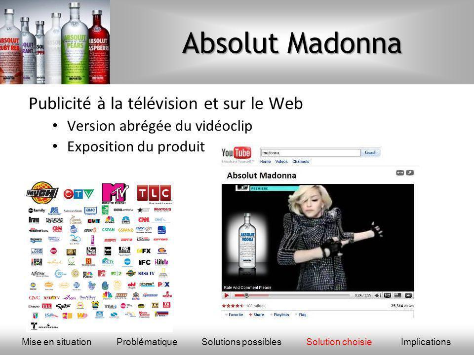 Absolut Madonna Publicité à la télévision et sur le Web