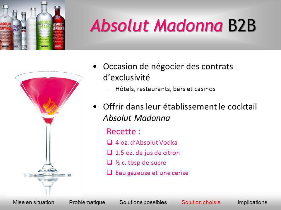 Absolut Madonna B2B Occasion de négocier des contrats d'exclusivité