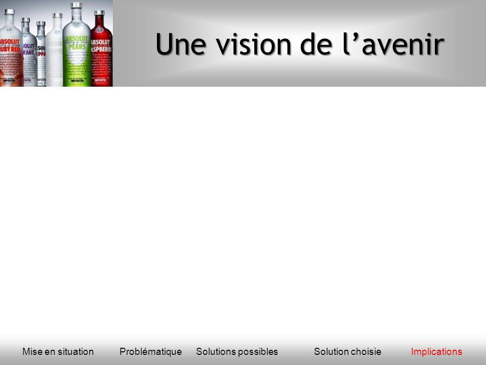 Une vision de l'avenir Mise en situation Problématique Solutions possibles Solution choisie Implications.