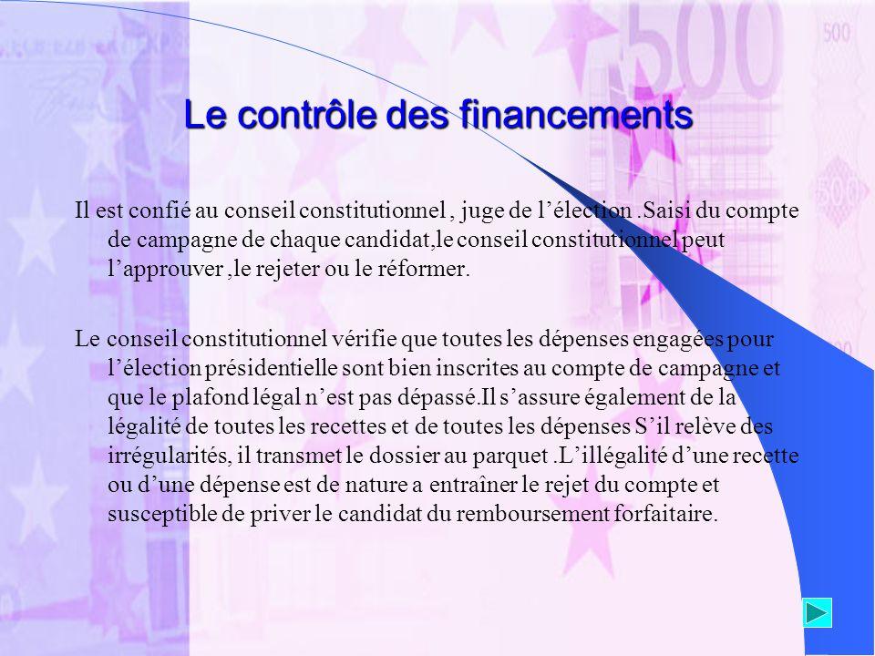 Le contrôle des financements