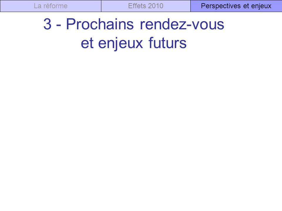 3 - Prochains rendez-vous et enjeux futurs