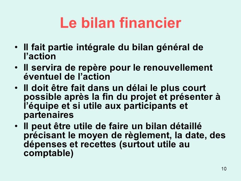Le bilan financier Il fait partie intégrale du bilan général de l'action. Il servira de repère pour le renouvellement éventuel de l'action.