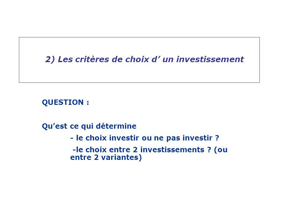 2) Les critères de choix d' un investissement