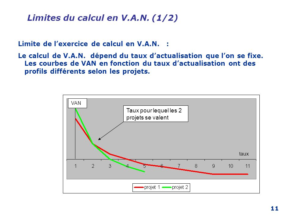 Limites du calcul en V.A.N. (1/2)
