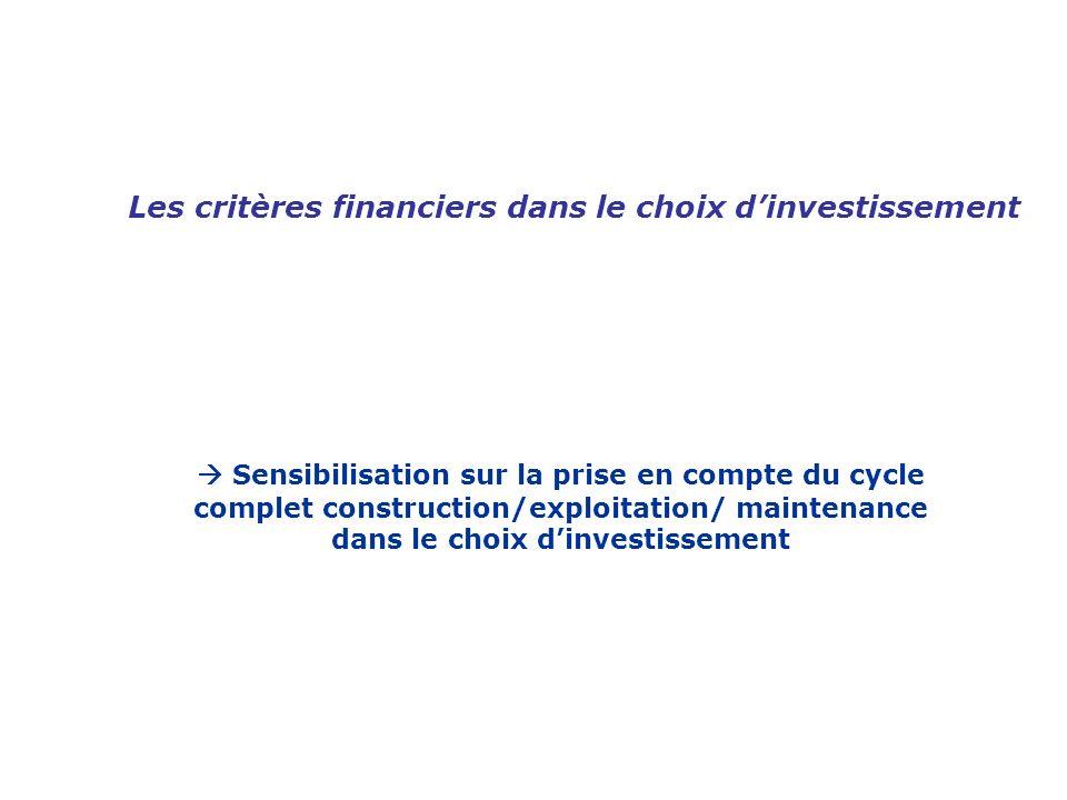 Les critères financiers dans le choix d'investissement