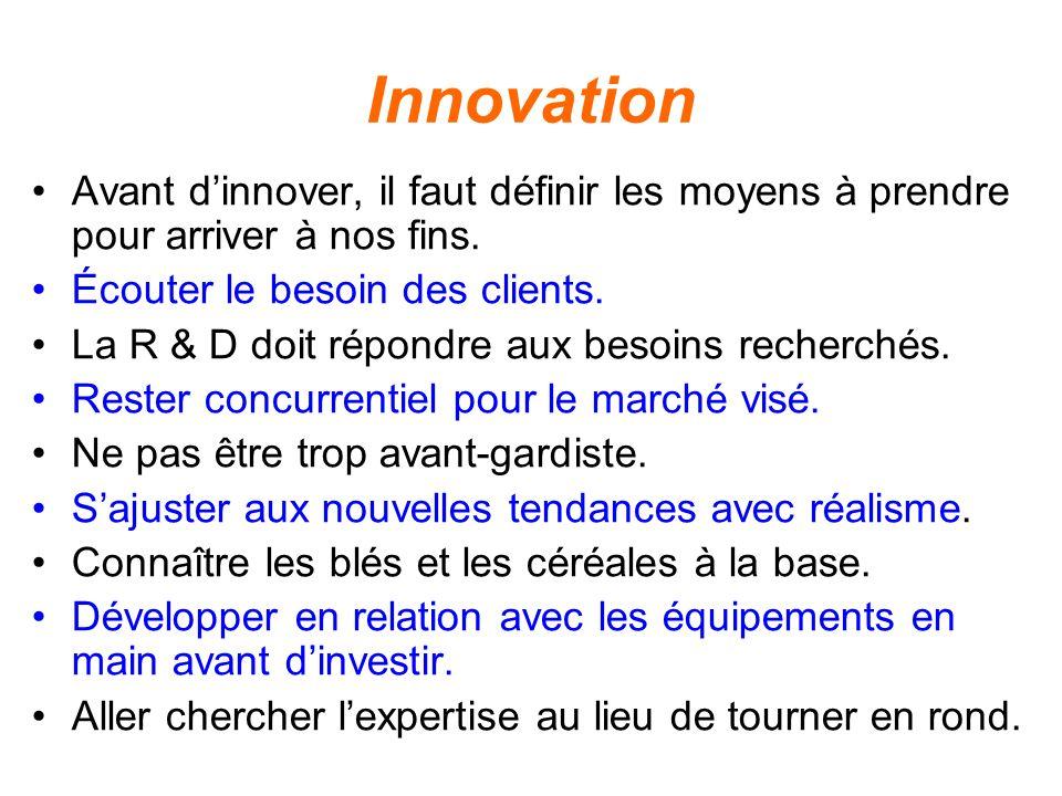 Innovation Avant d'innover, il faut définir les moyens à prendre pour arriver à nos fins. Écouter le besoin des clients.