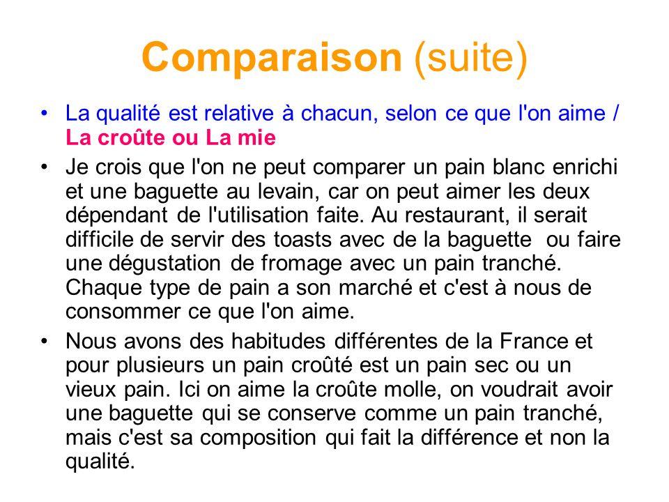 Comparaison (suite) La qualité est relative à chacun, selon ce que l on aime / La croûte ou La mie.