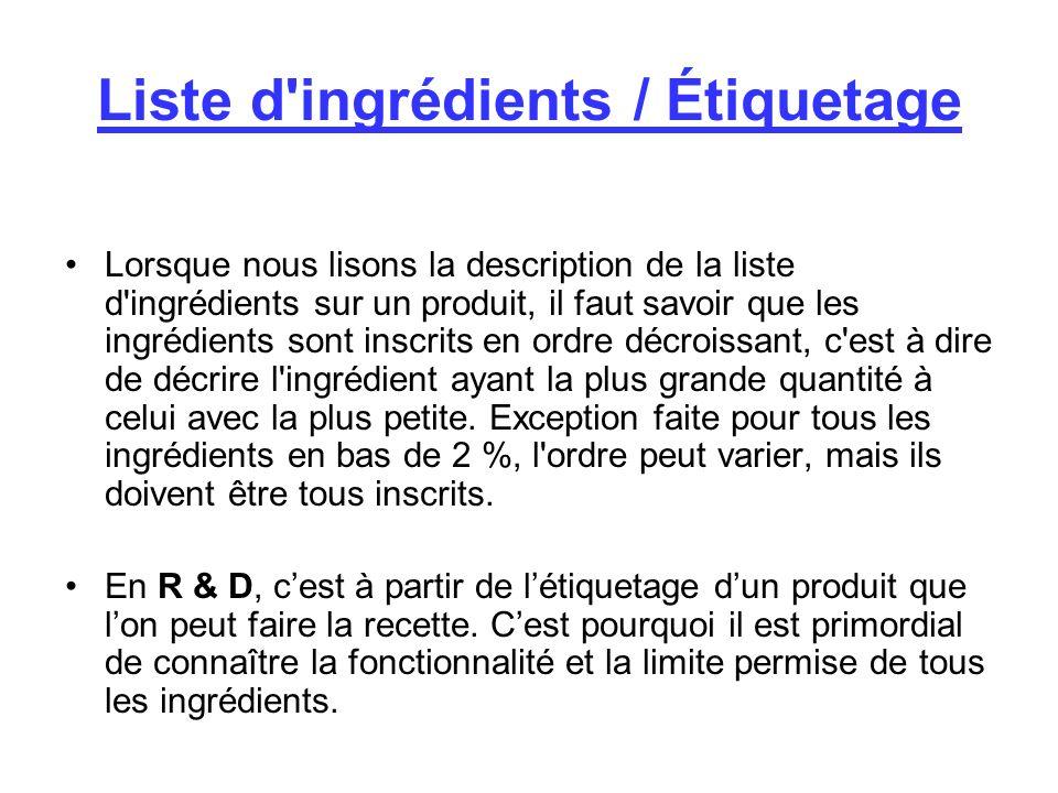 Liste d ingrédients / Étiquetage