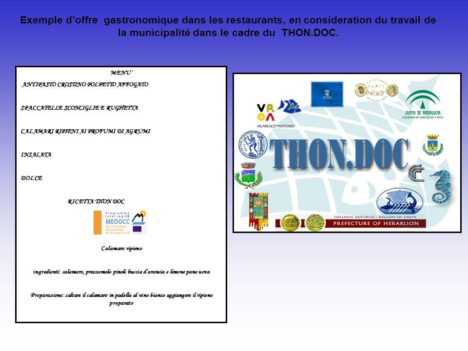 Exemple d'offre gastronomique dans les restaurants, en consideration du travail de la municipalité dans le cadre du THON.DOC.