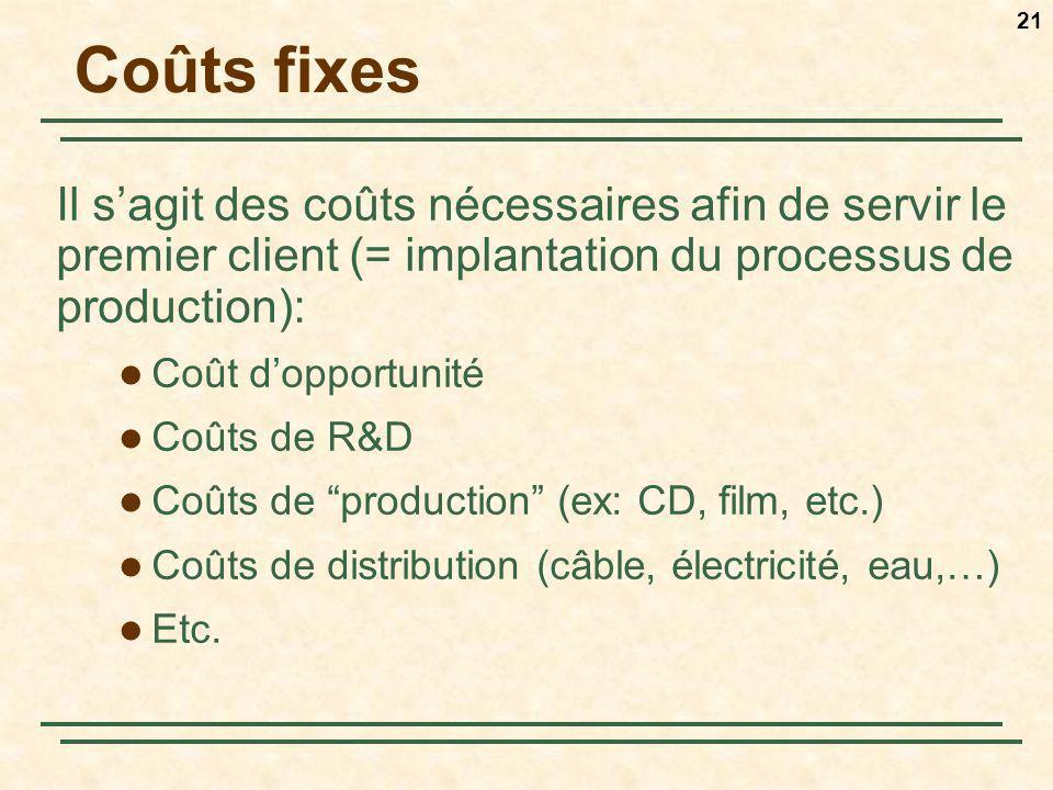 Coûts fixes Il s'agit des coûts nécessaires afin de servir le premier client (= implantation du processus de production):