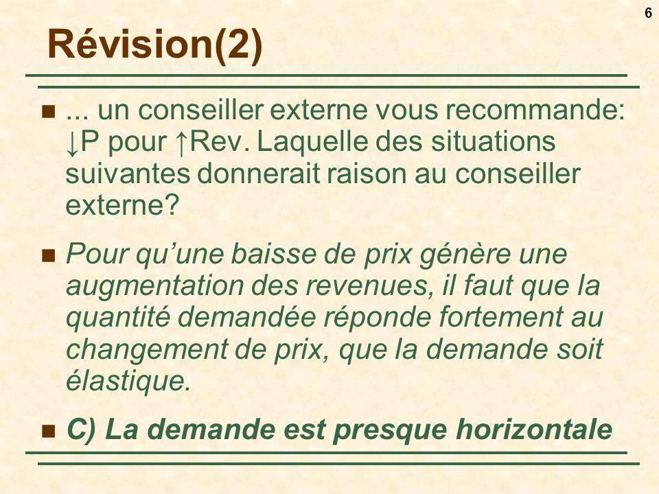 Révision(2) ... un conseiller externe vous recommande: ↓P pour ↑Rev. Laquelle des situations suivantes donnerait raison au conseiller externe