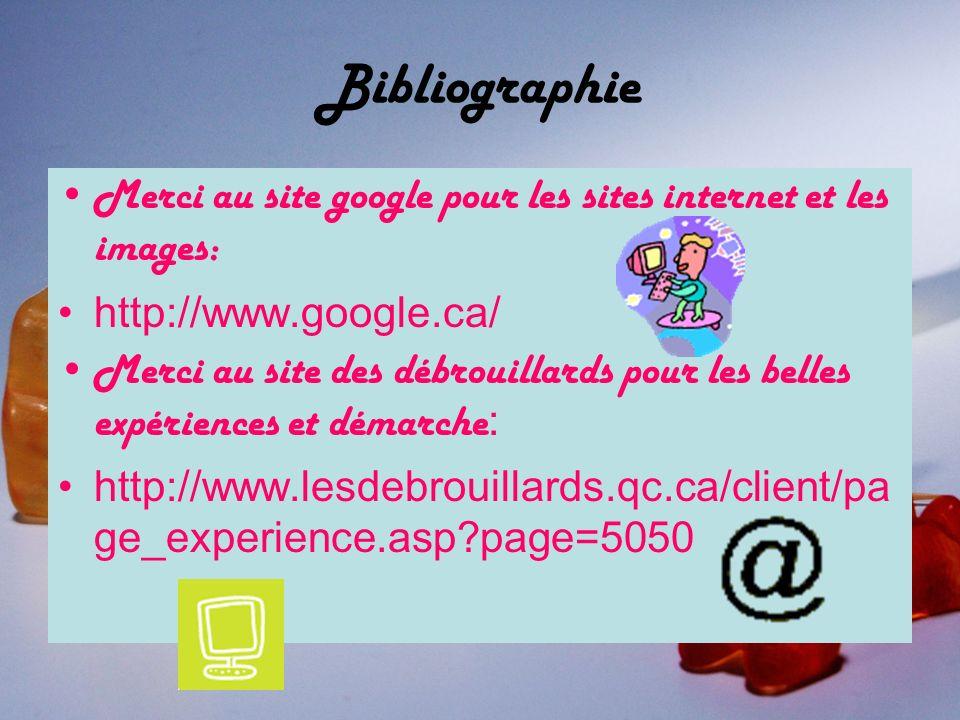 Bibliographie Merci au site google pour les sites internet et les images: http://www.google.ca/
