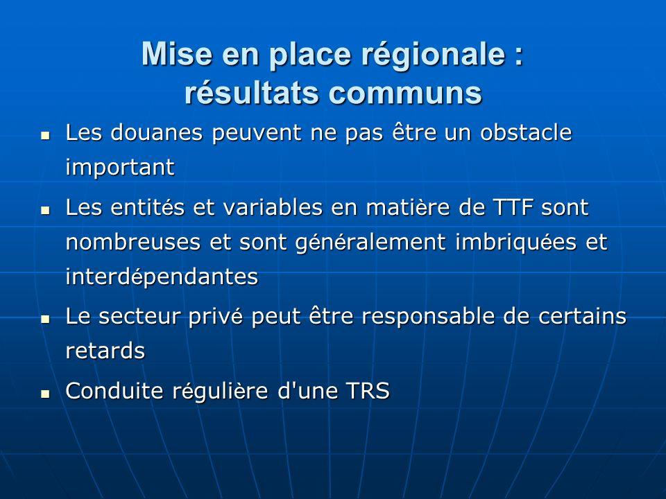 Mise en place régionale : résultats communs