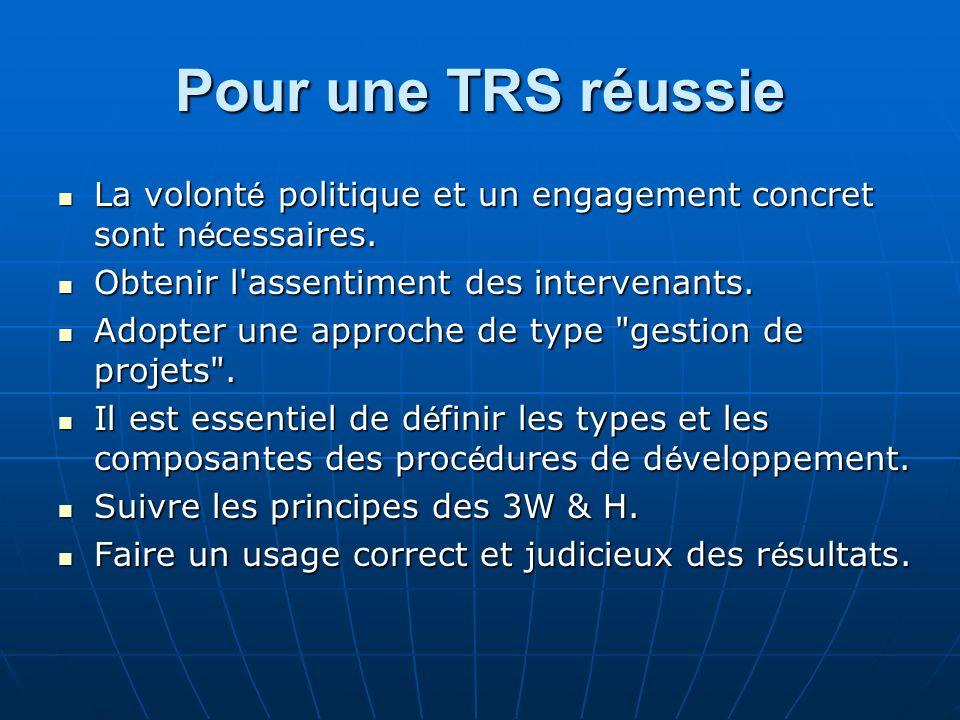 Pour une TRS réussie La volonté politique et un engagement concret sont nécessaires. Obtenir l assentiment des intervenants.