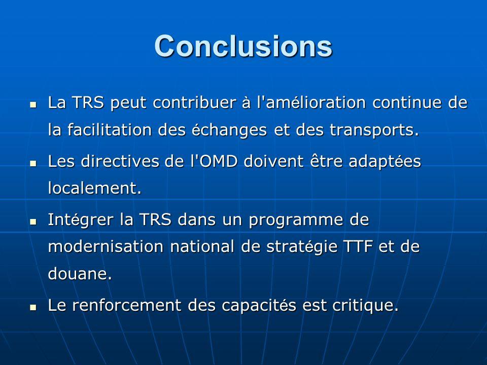 Conclusions La TRS peut contribuer à l amélioration continue de la facilitation des échanges et des transports.