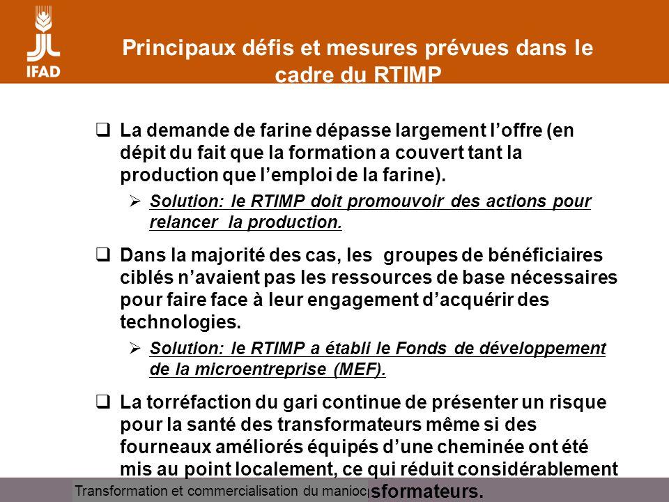Principaux défis et mesures prévues dans le cadre du RTIMP