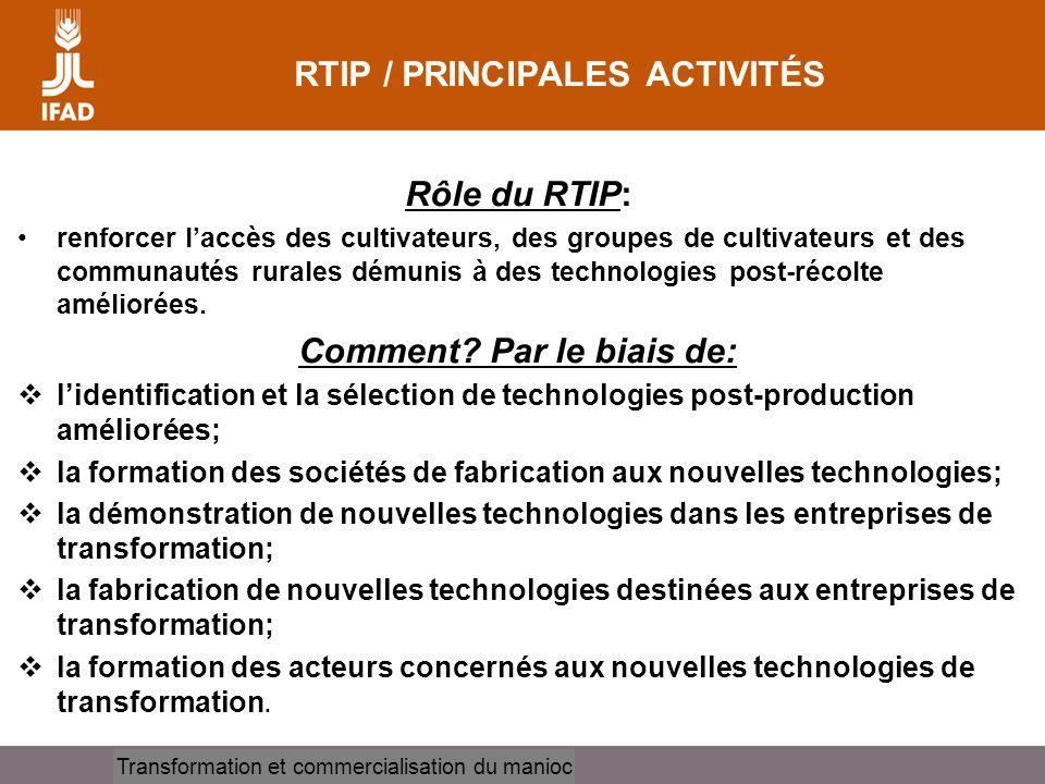 RTIP / PRINCIPALES ACTIVITÉS