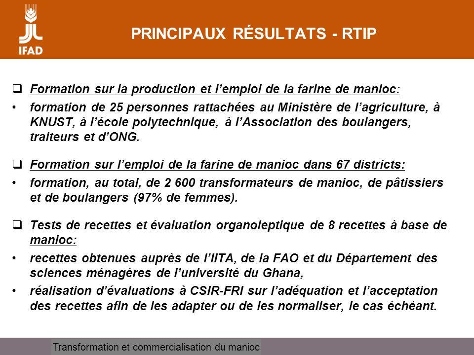 PRINCIPAUX RÉSULTATS - RTIP