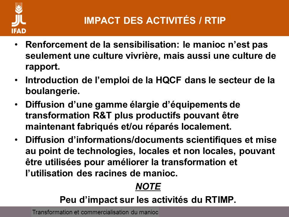 IMPACT DES ACTIVITÉS / RTIP