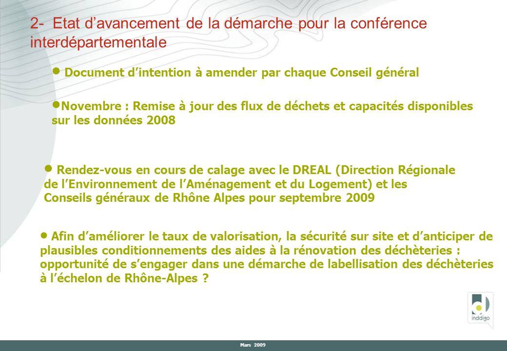 2- Etat d'avancement de la démarche pour la conférence interdépartementale