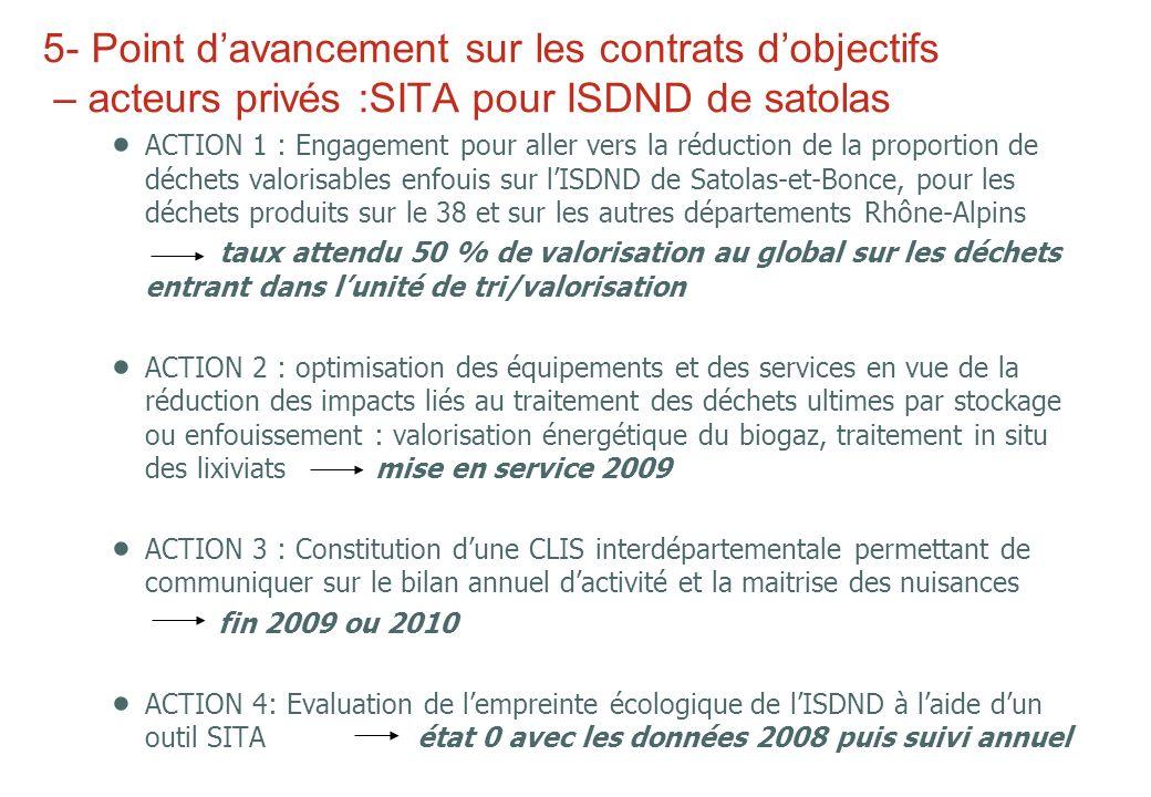 5- Point d'avancement sur les contrats d'objectifs – acteurs privés :SITA pour ISDND de satolas