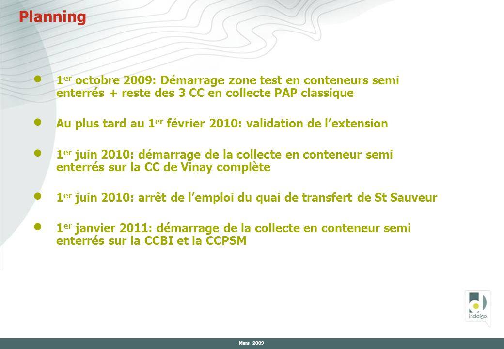 Planning 1er octobre 2009: Démarrage zone test en conteneurs semi enterrés + reste des 3 CC en collecte PAP classique.
