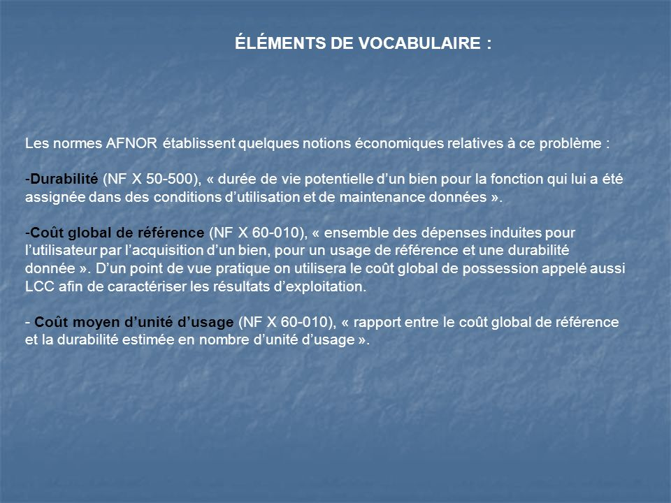 ÉLÉMENTS DE VOCABULAIRE :