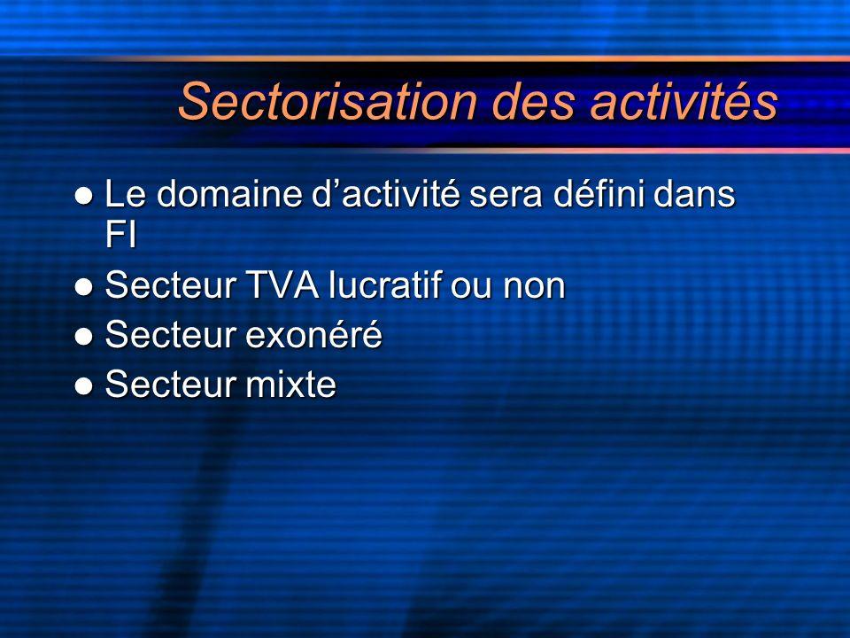 Sectorisation des activités