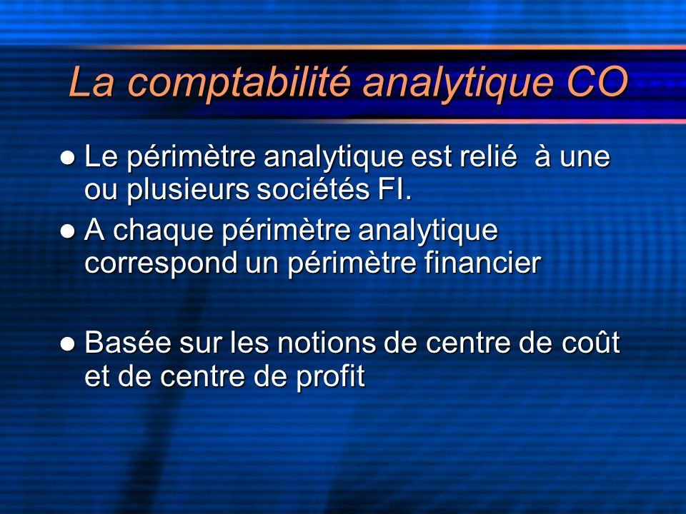La comptabilité analytique CO