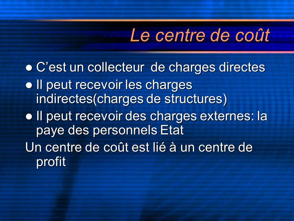 Le centre de coût C'est un collecteur de charges directes