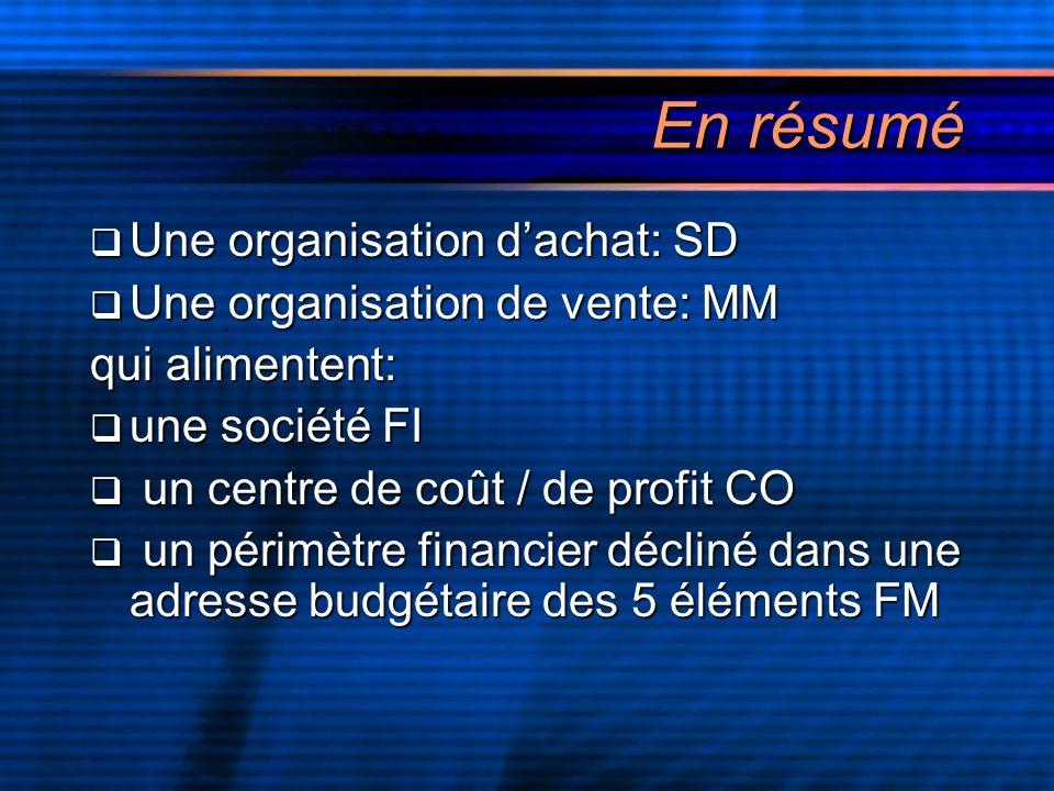 En résumé Une organisation d'achat: SD Une organisation de vente: MM
