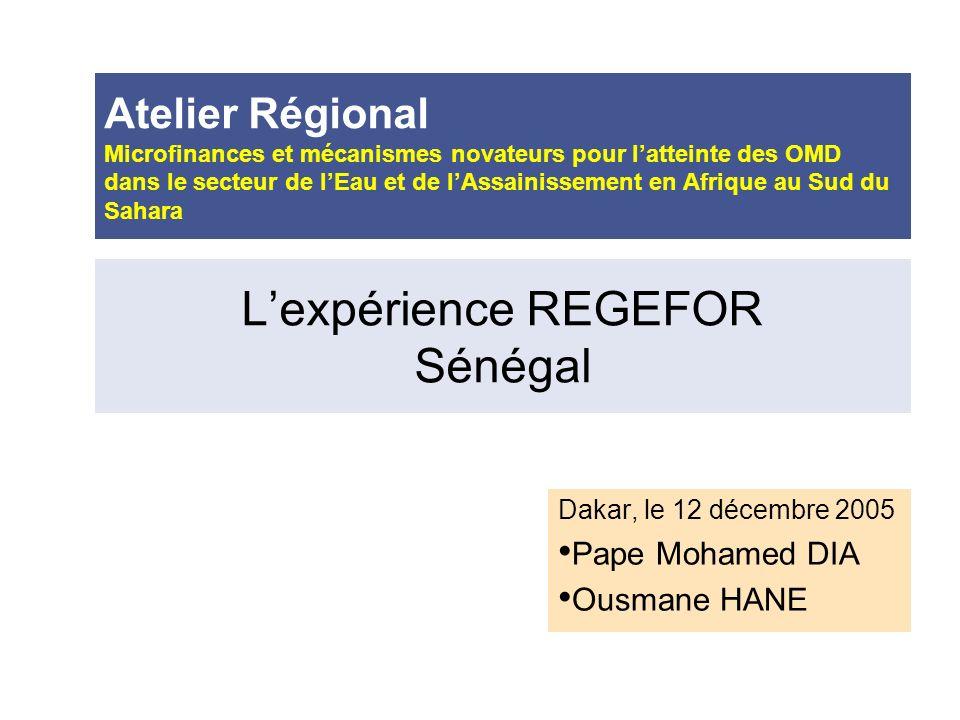 L'expérience REGEFOR Sénégal
