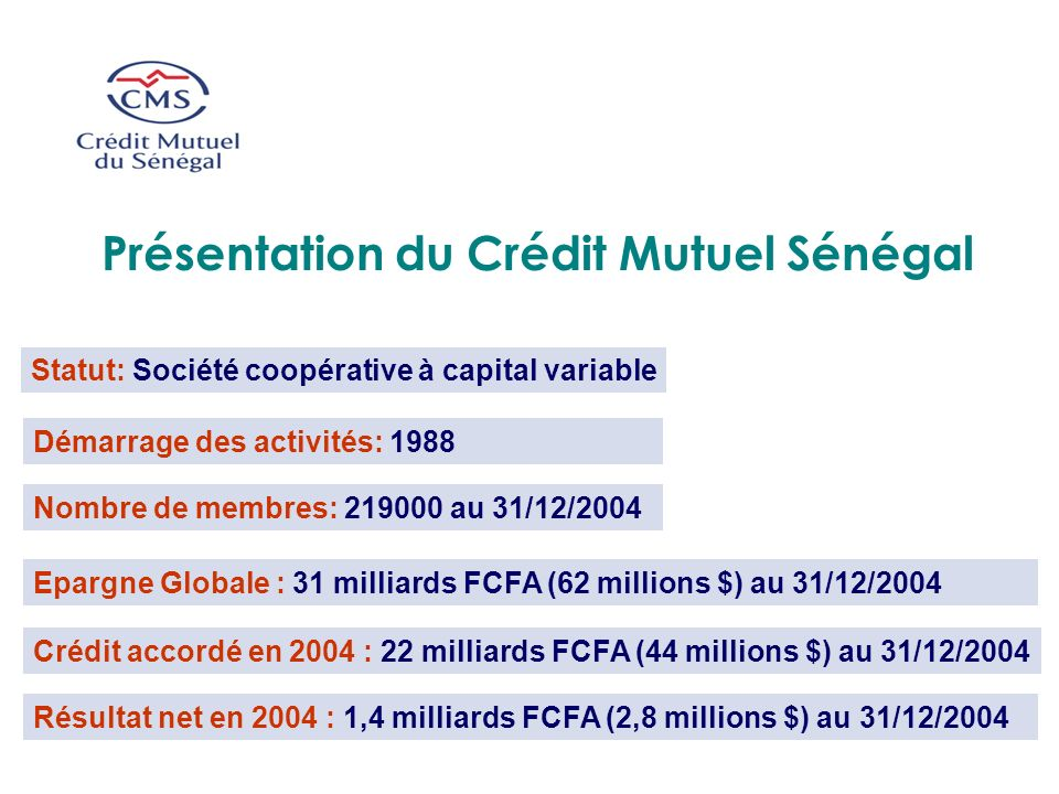 Présentation du Crédit Mutuel Sénégal
