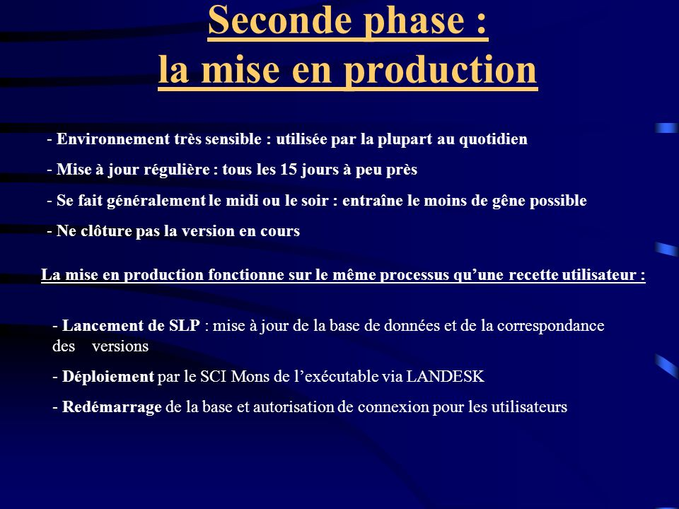 Seconde phase : la mise en production