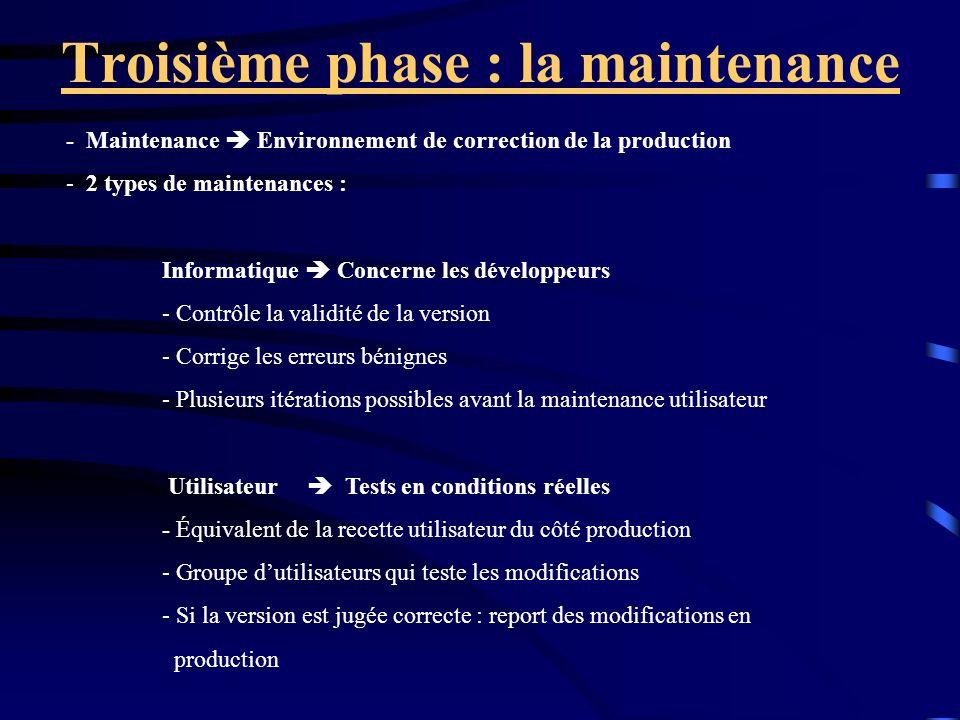 Troisième phase : la maintenance