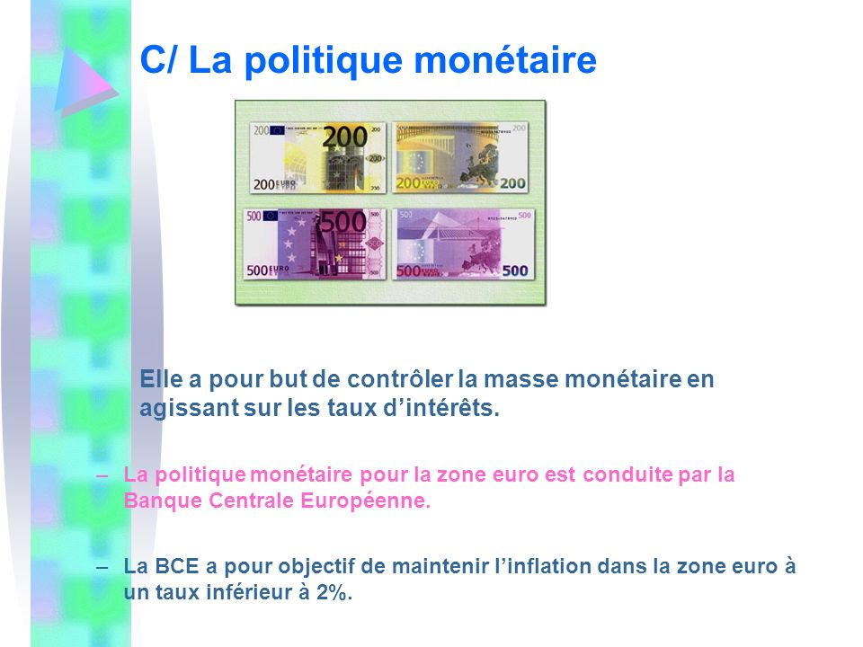 C/ La politique monétaire
