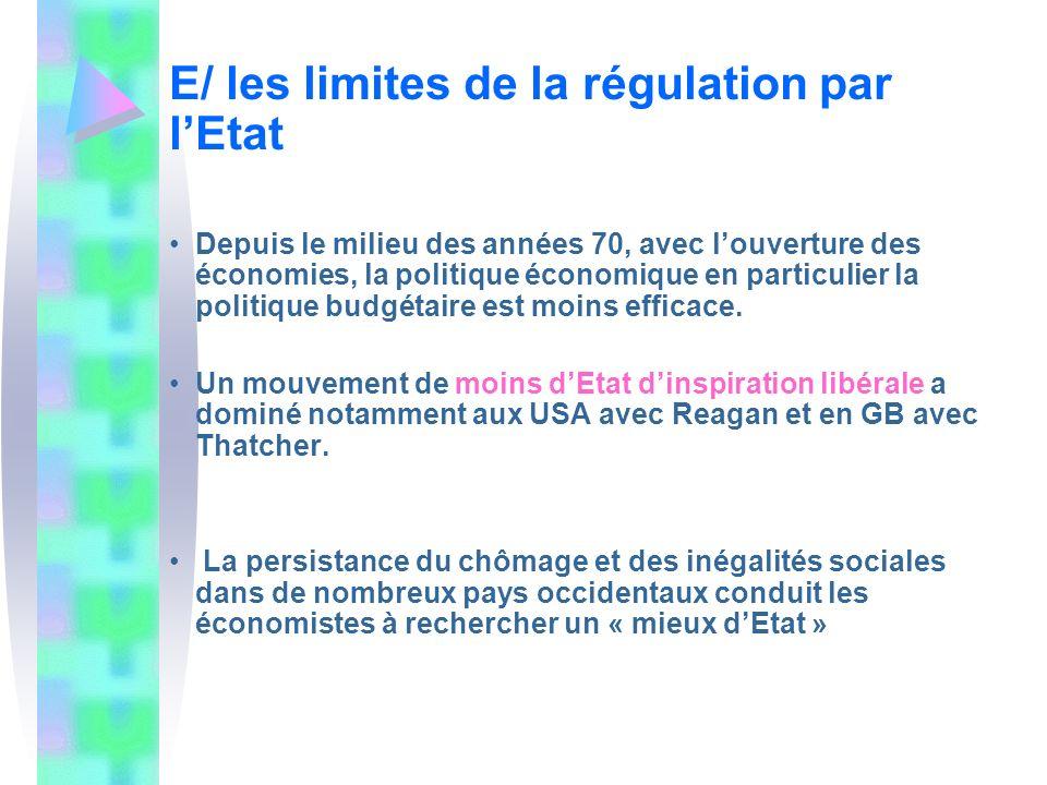 E/ les limites de la régulation par l'Etat
