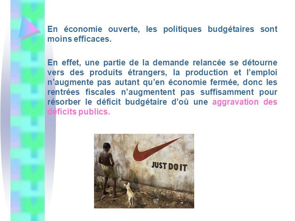 En économie ouverte, les politiques budgétaires sont moins efficaces.
