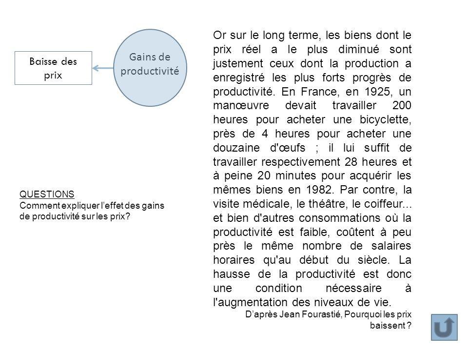 Or sur le long terme, les biens dont le prix réel a le plus diminué sont justement ceux dont la production a enregistré les plus forts progrès de productivité. En France, en 1925, un manœuvre devait travailler 200 heures pour acheter une bicyclette, près de 4 heures pour acheter une douzaine d œufs ; il lui suffit de travailler respectivement 28 heures et à peine 20 minutes pour acquérir les mêmes biens en 1982. Par contre, la visite médicale, le théâtre, le coiffeur... et bien d autres consommations où la productivité est faible, coûtent à peu près le même nombre de salaires horaires qu au début du siècle. La hausse de la productivité est donc une condition nécessaire à l augmentation des niveaux de vie.