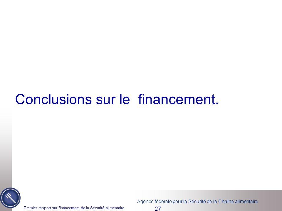 Conclusions sur le financement.