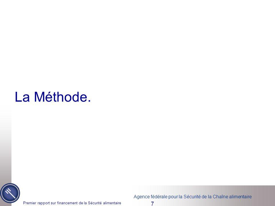 La Méthode. Premier rapport sur financement de la Sécurité alimentaire