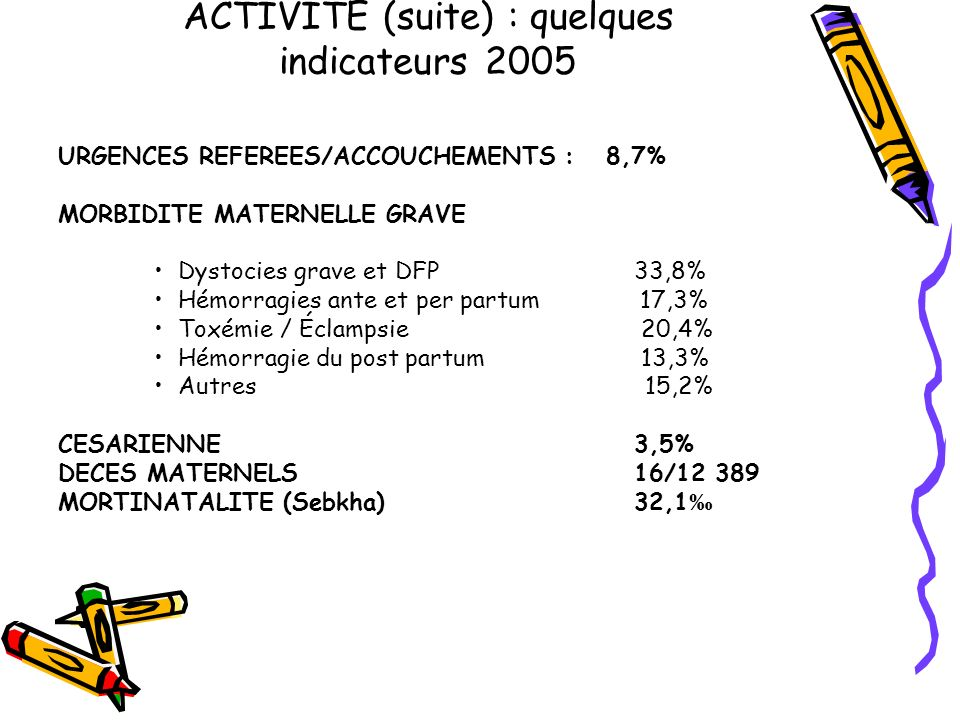 ACTIVITE (suite) : quelques indicateurs 2005