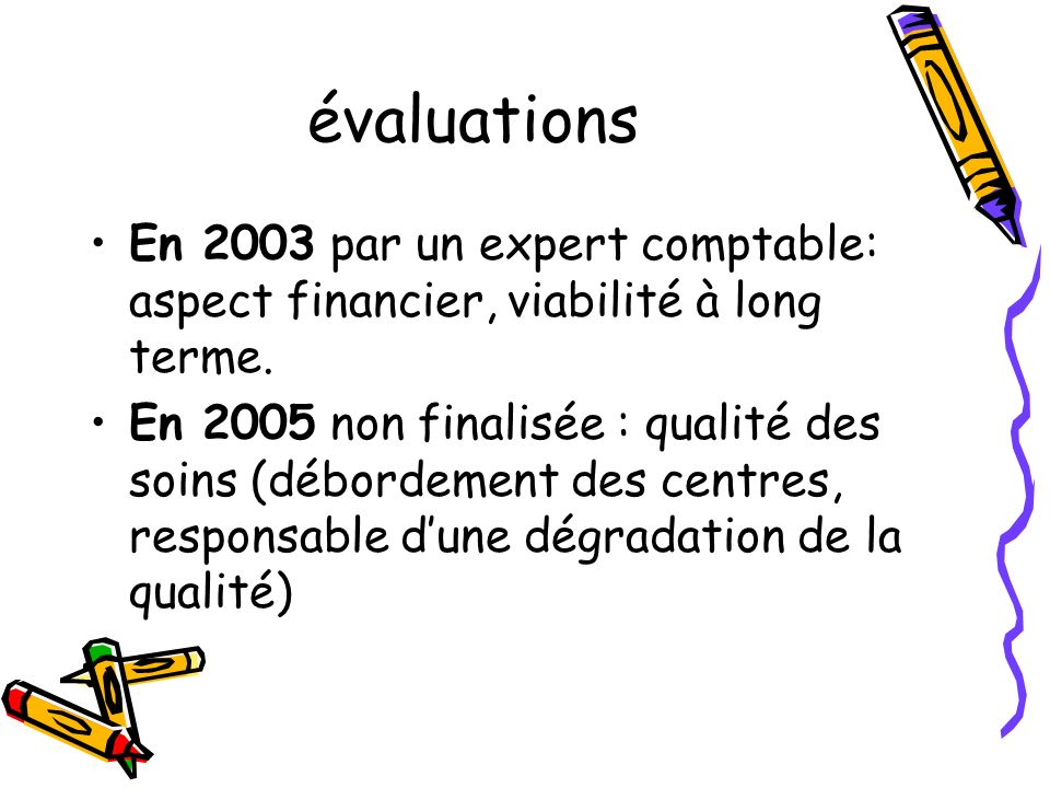 évaluations En 2003 par un expert comptable: aspect financier, viabilité à long terme.