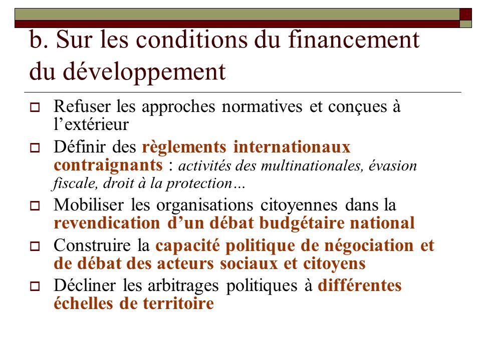 b. Sur les conditions du financement du développement
