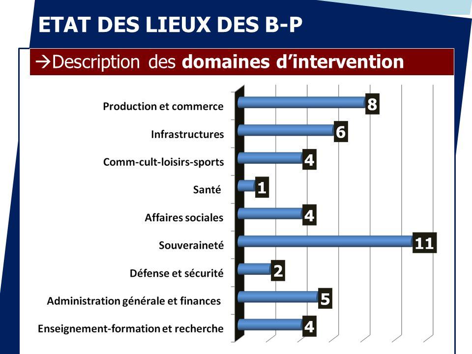 ETAT DES LIEUX DES B-P Description des domaines d'intervention