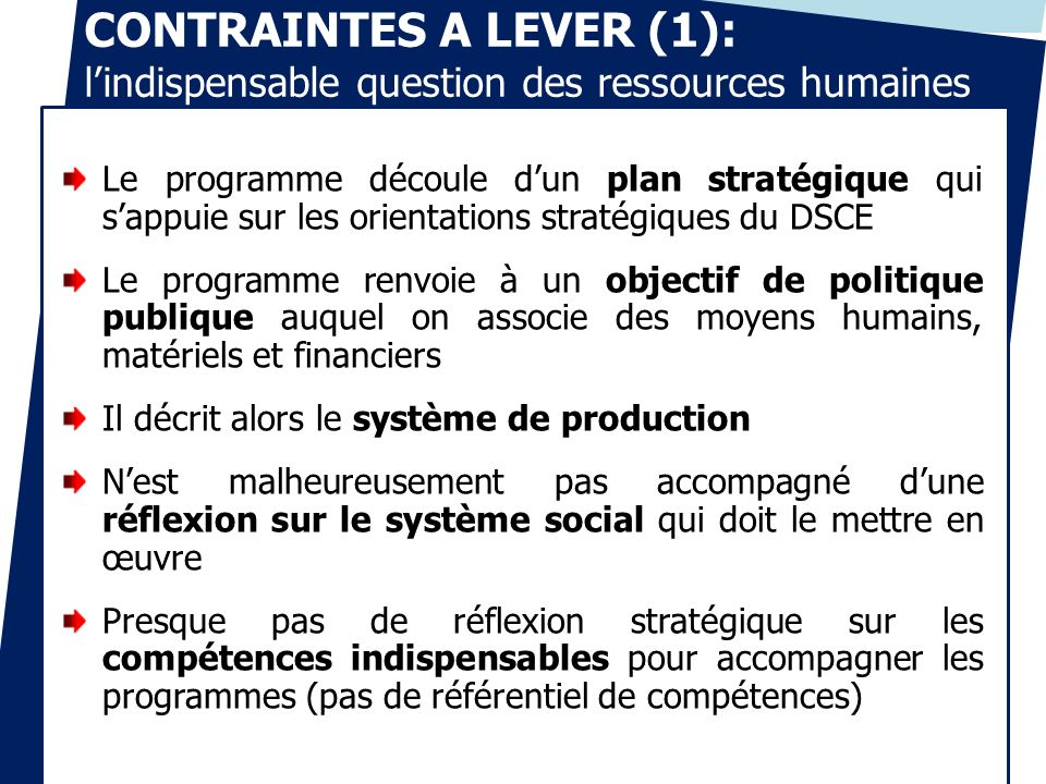 CONTRAINTES A LEVER (1): l'indispensable question des ressources humaines