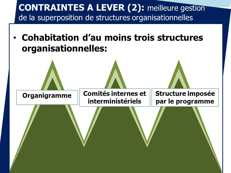 Cohabitation d'au moins trois structures organisationnelles: