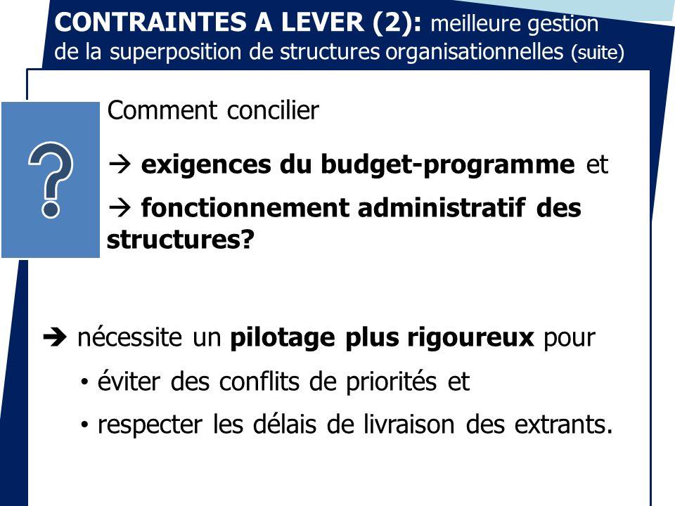 CONTRAINTES A LEVER (2): meilleure gestion de la superposition de structures organisationnelles (suite)