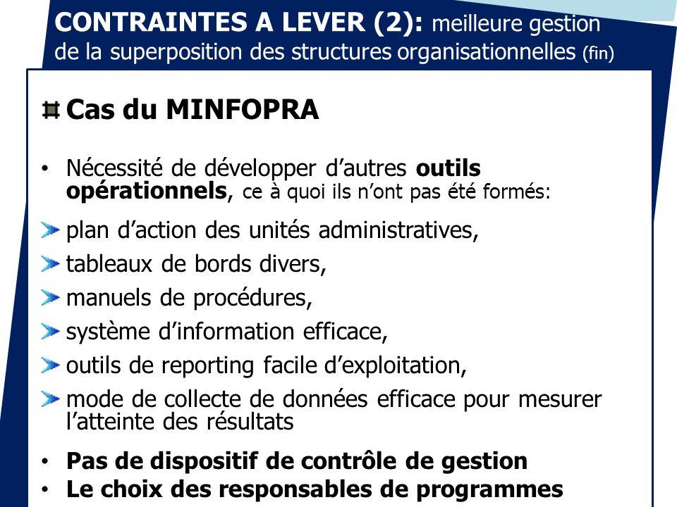 CONTRAINTES A LEVER (2): meilleure gestion de la superposition des structures organisationnelles (fin)