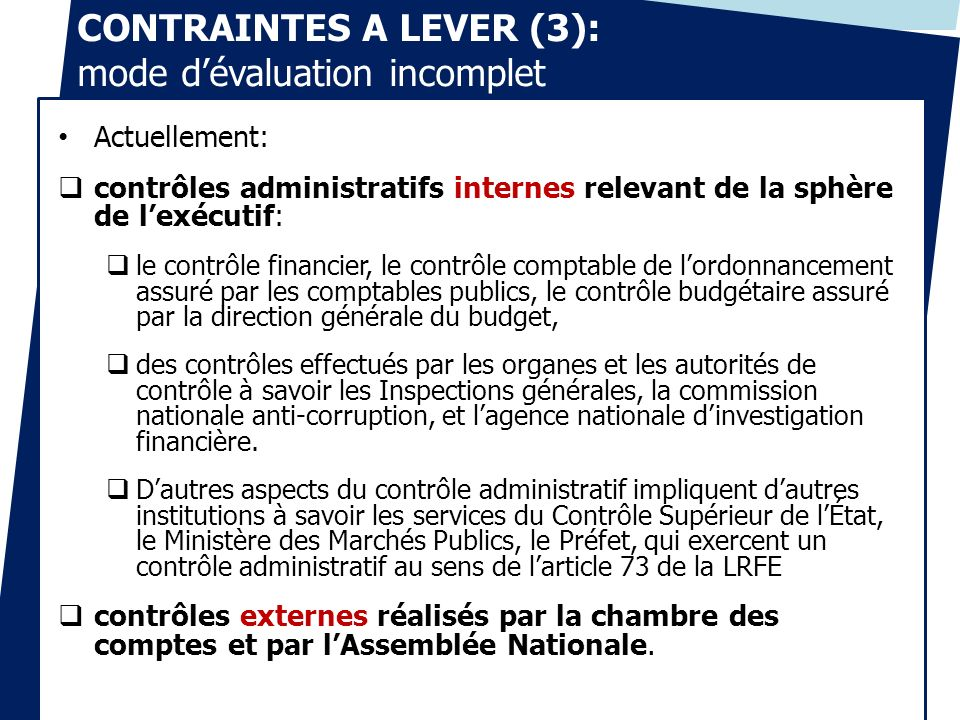 CONTRAINTES A LEVER (3): mode d'évaluation incomplet